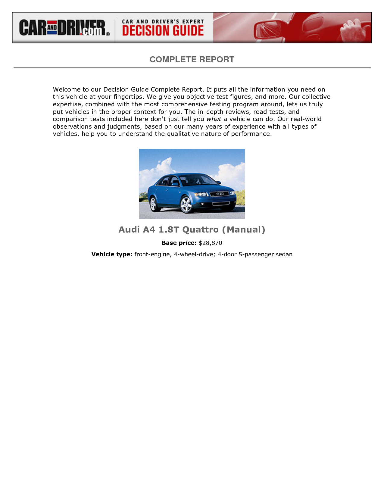 Audi A4 1.8 T 190hp quattro MT